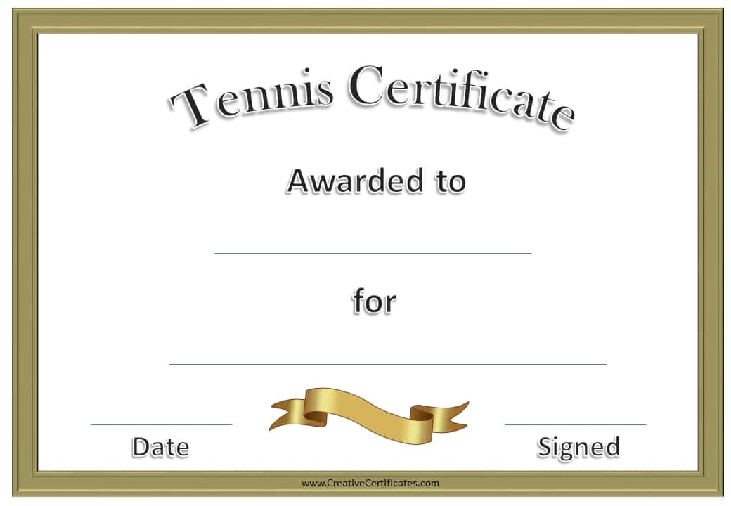 Free Tennis Certificate Templates Customizable  Printable