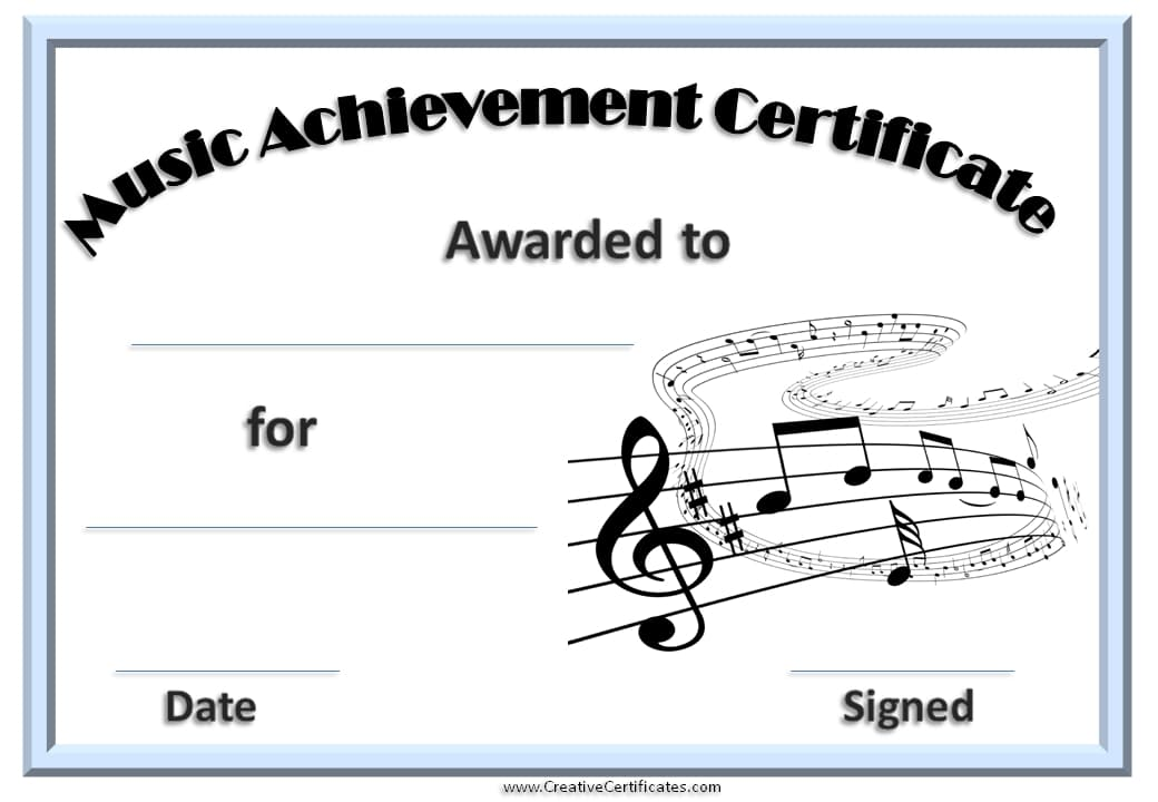 Free Editable Music Certificate Template - Free and Customizable