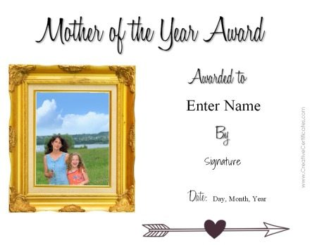 award certificate template word free mothers day printable