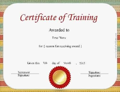 Free Certificate of Training Template - Customizable