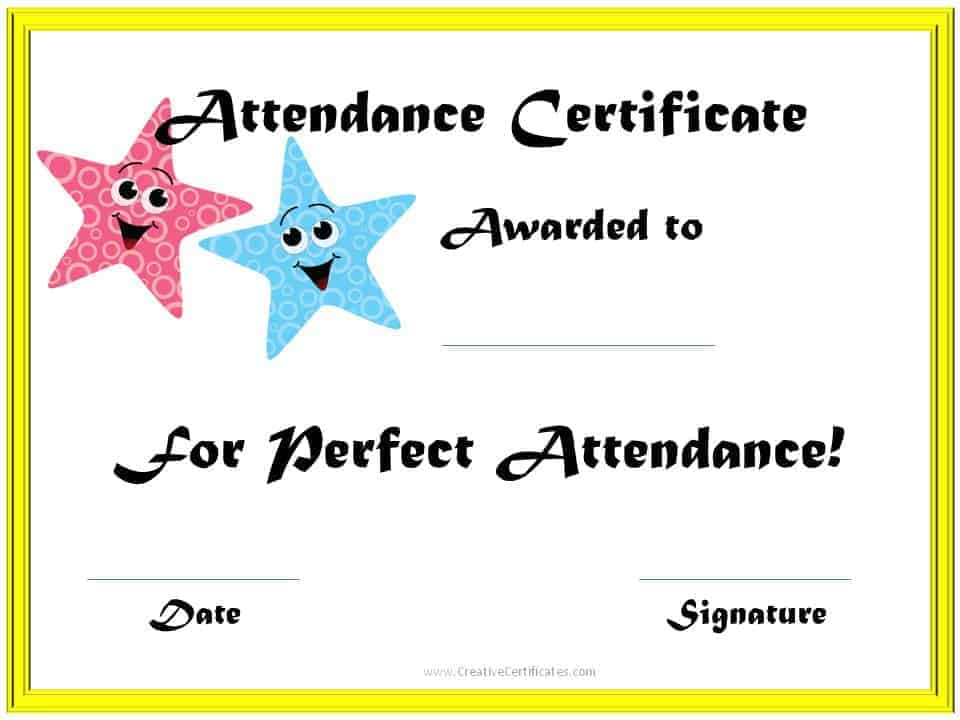 Perfect Attendance Award Certificates - free printable perfect attendance certificate template
