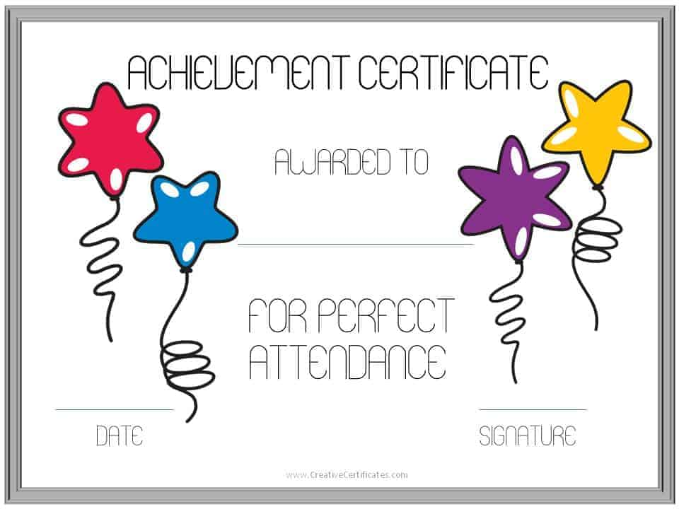 Perfect Attendance Award Certificates Free Instant Download - free perfect attendance certificate template