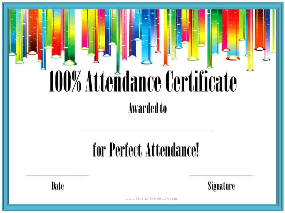 Perfect Attendance Award Certificates - printable certificate of attendance
