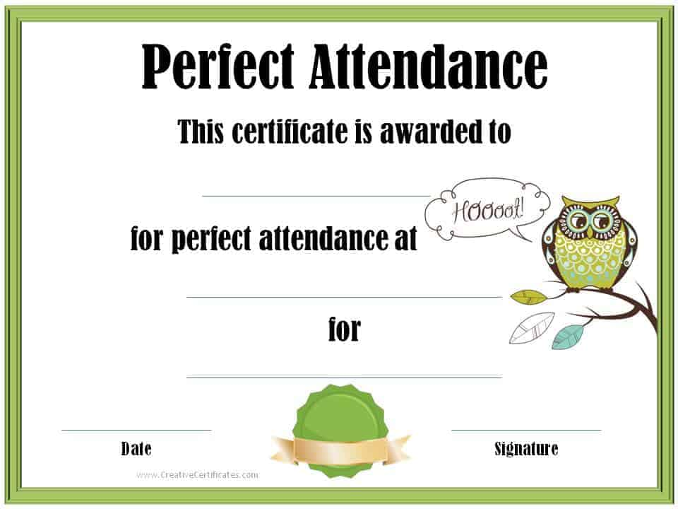 Perfect Attendance Award Certificates Free Instant Download - Free Printable Perfect Attendance Certificate