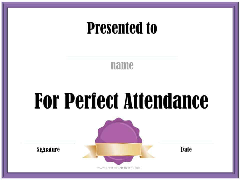 Perfect Attendance Award Certificates - sample school certificate