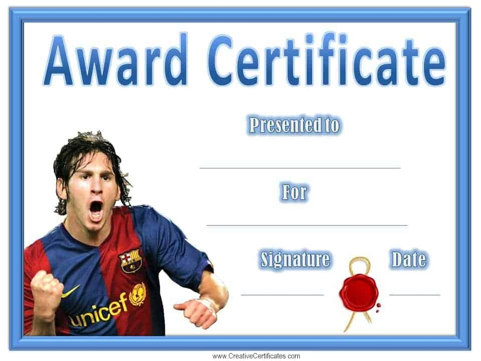 Free Editable Soccer Certificates - Customize Online - Instant Download - best of printable soccer certificate