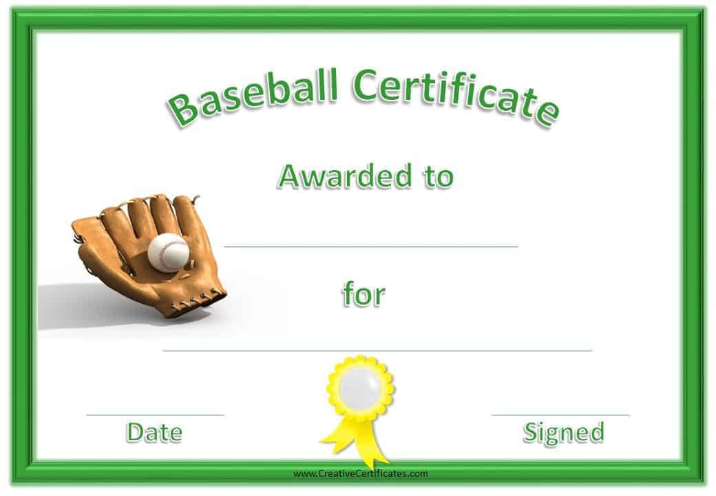 Free Editable Baseball Certificates - Customize Online  Print at Home