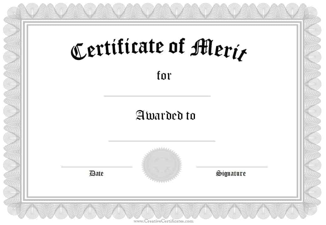 Formal Award Certificate Templates - merit certificate comments