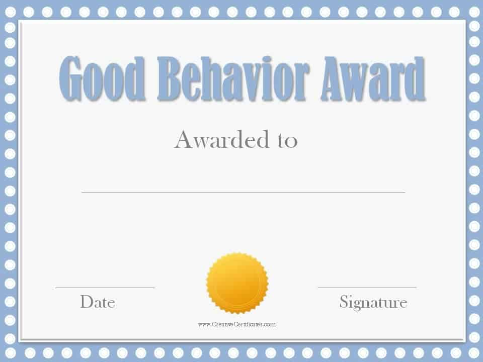 Good Behavior Award Certificates - recognition certificates for students