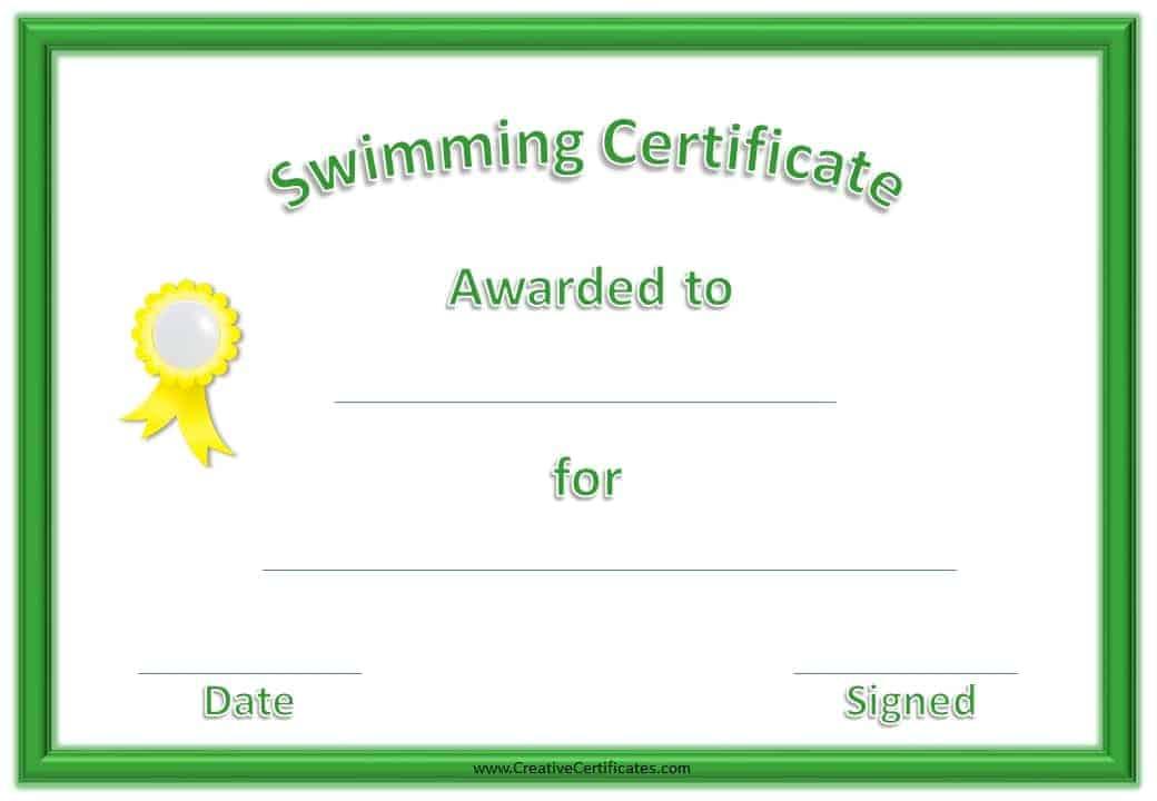 free printable swimming certificate templates - certificates free download free printable