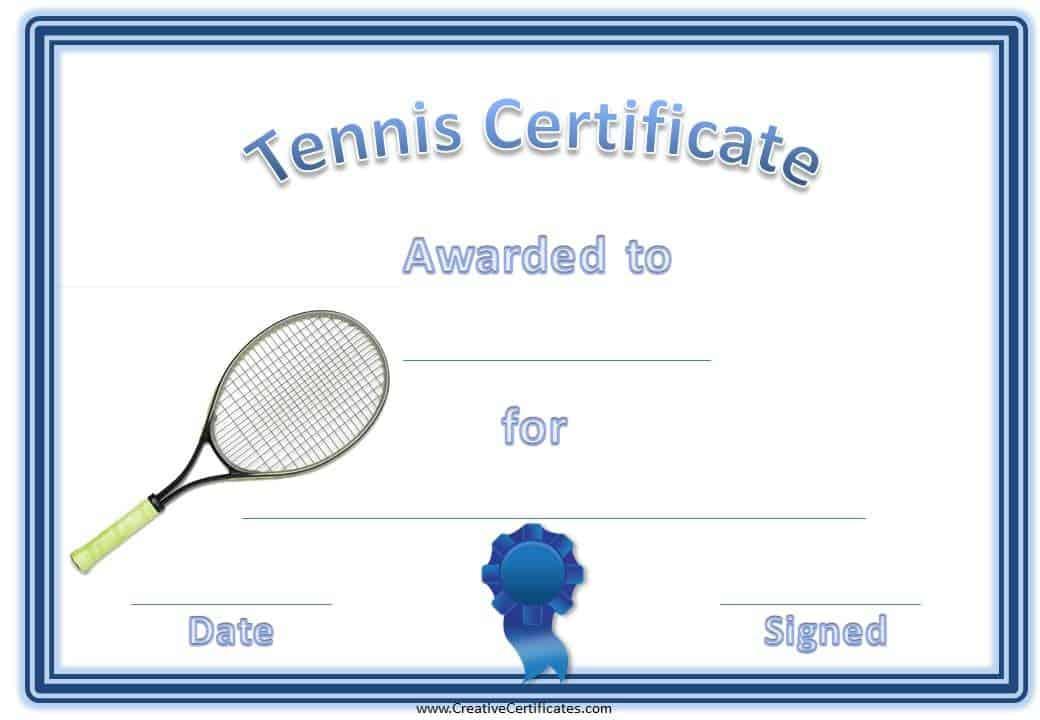 Free Tennis Certificate Templates Customizable \ Printable - award certificate template