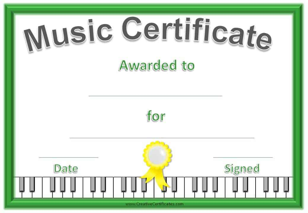 Music Certificate Template - Free and Customizable - free award certificates