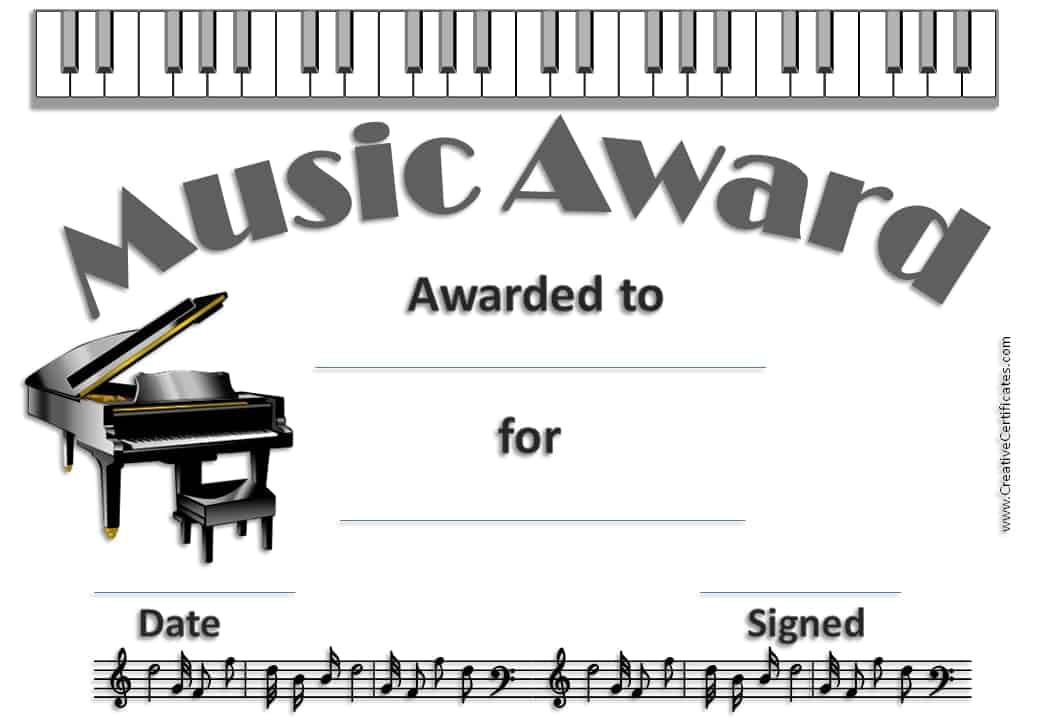 Cute Children Piano Class Certificate Template For Free Download