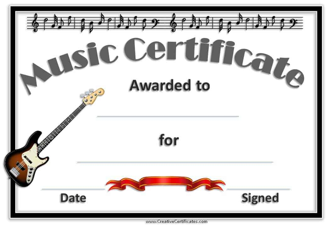 Free Editable Music Certificate Template - Free and Customizable - award templates