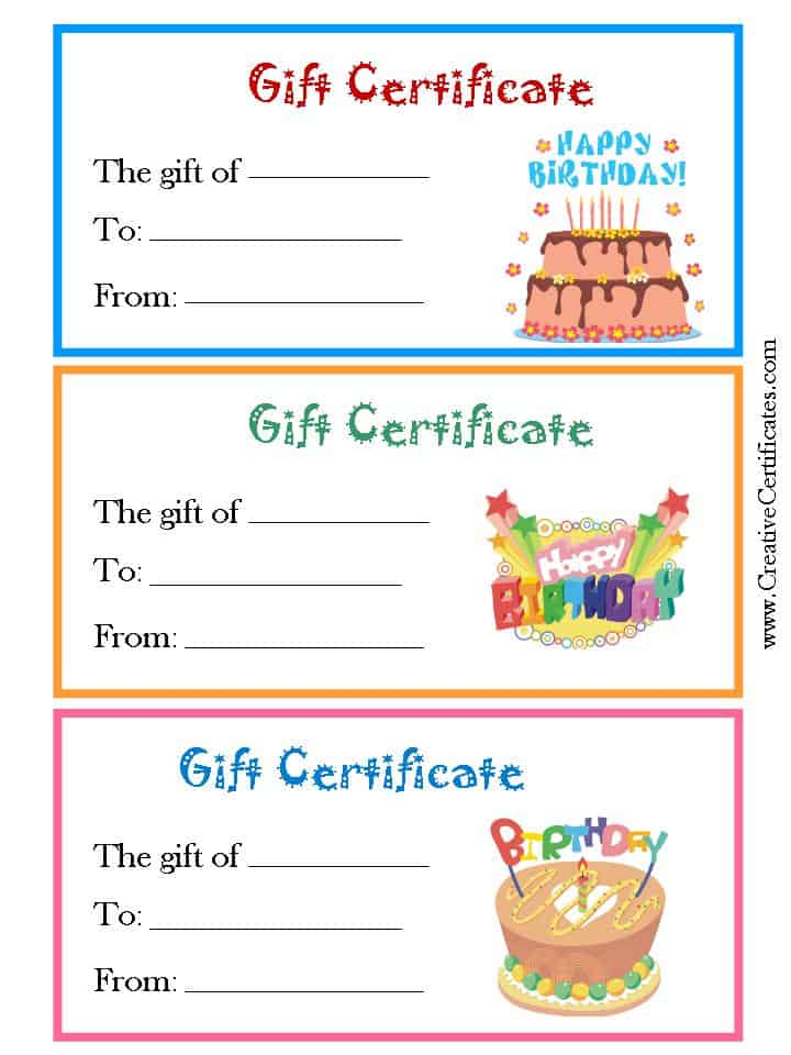 birthday printable gift certificates templates - birthday gift certificate