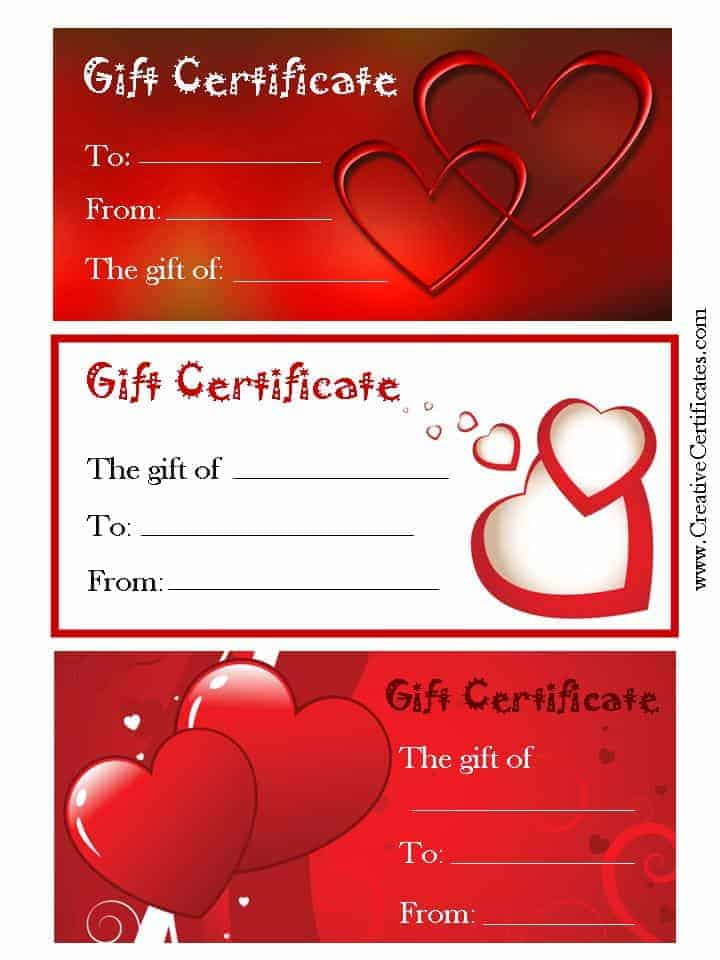 Valentineu0027s Gift Certificates - printable gift certificates free template