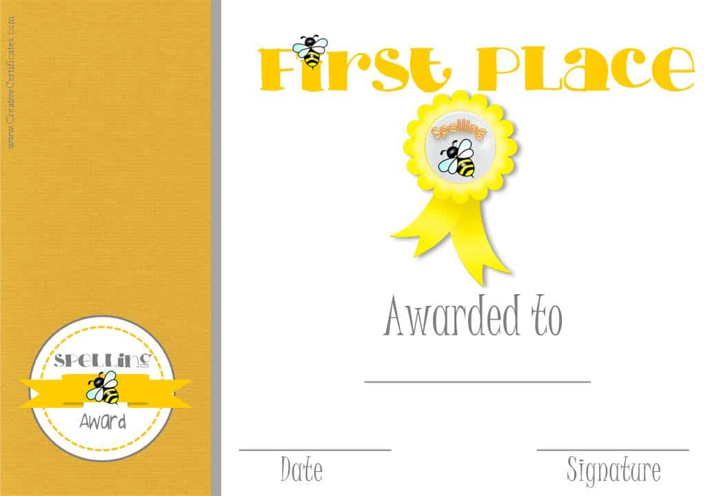 1st-placejpg (1040×720) spelling Pinterest Bee certificate - first place award certificate