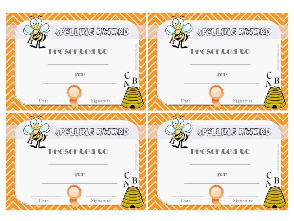Free Spelling Bee Certificate Templates - Customize Online - Award Maker