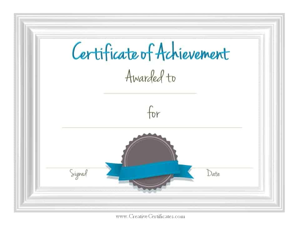 Free Customizable Certificate of Achievement - blank achievement certificates