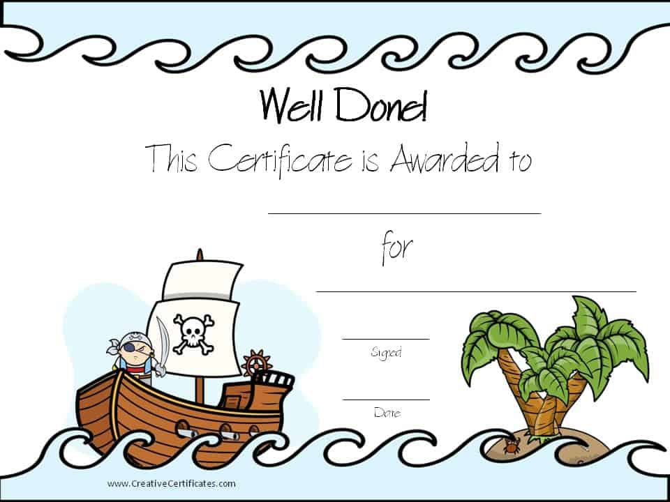Pirate Certificates - certificate template for kids