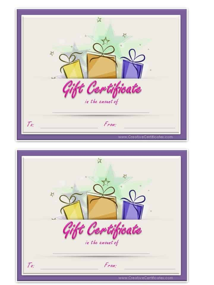 Free Gift Certificate Template Customize Online and Print at Home - gift certificate with stub
