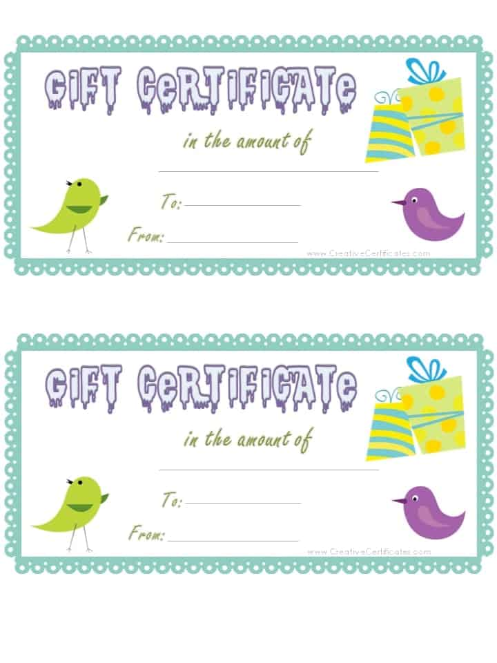 Free Gift Certificate Template (customizable) - gift certificate template pages