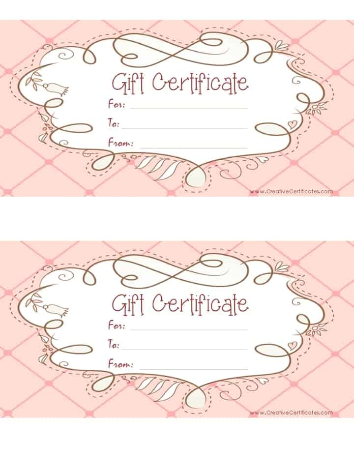 Free Gift Certificate Template Customize Online and Print at Home - Printable Blank Gift Certificates