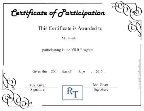 Free Certificate of Participation Customize Online \ Print - printable certificate of attendance