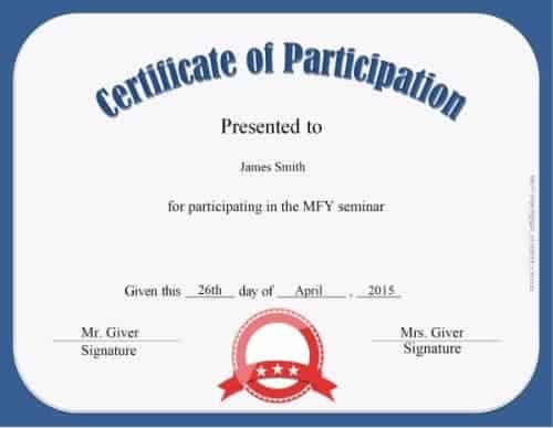 Free Certificate of Participation Customize Online  Print - Certification Templates