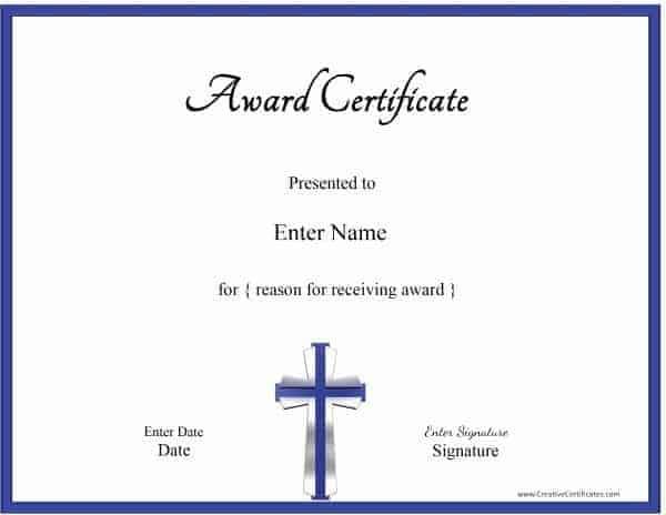 Christian Certificate Template - Customizable