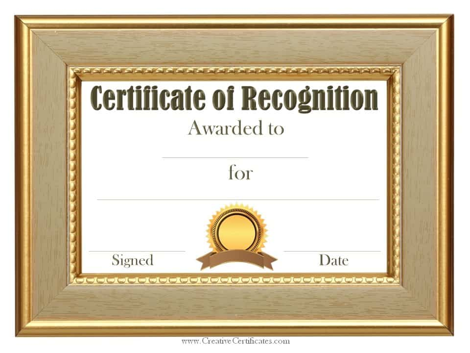 Free certificate of recognition template Customize online - certificates of recognition templates