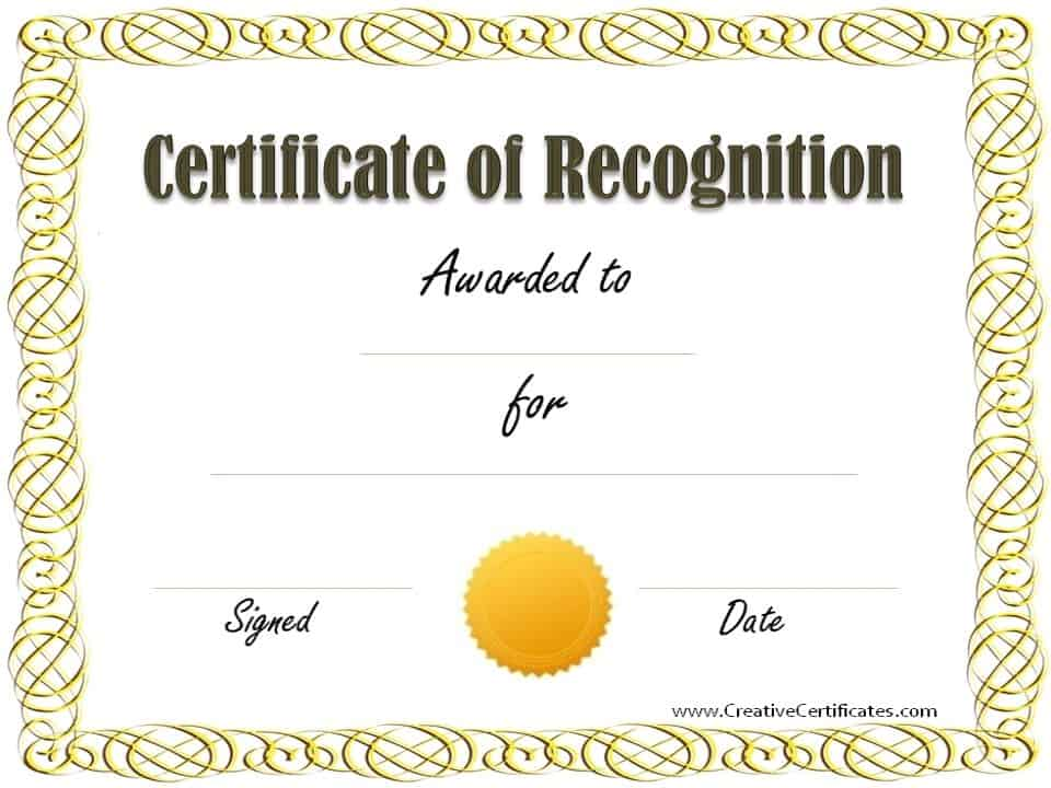 Free certificate of recognition template Customize online - blank certificate of recognition