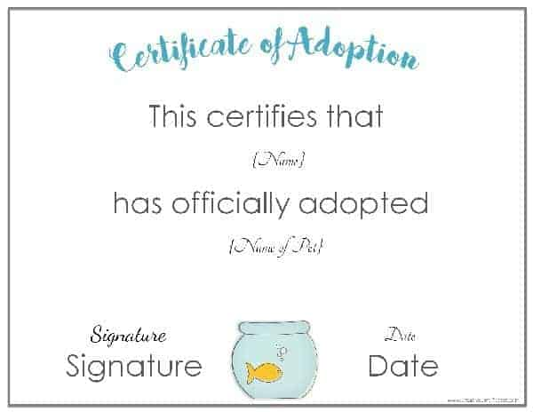 Adoption Certificate   Printable Certificates