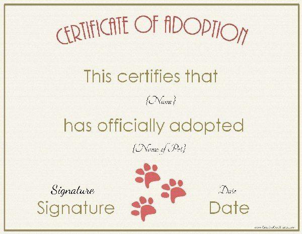 Free Adoption Certificate Template - Customize Online - blank adoption certificate template