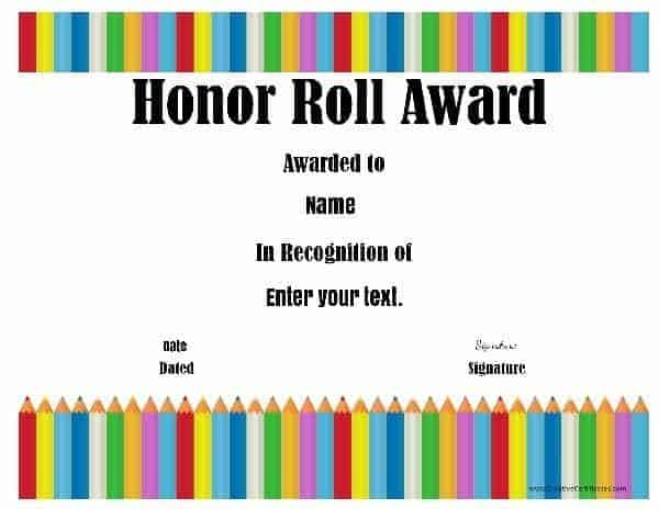 Free Honor Roll Certificates - Customize Online - free printable honor roll certificates