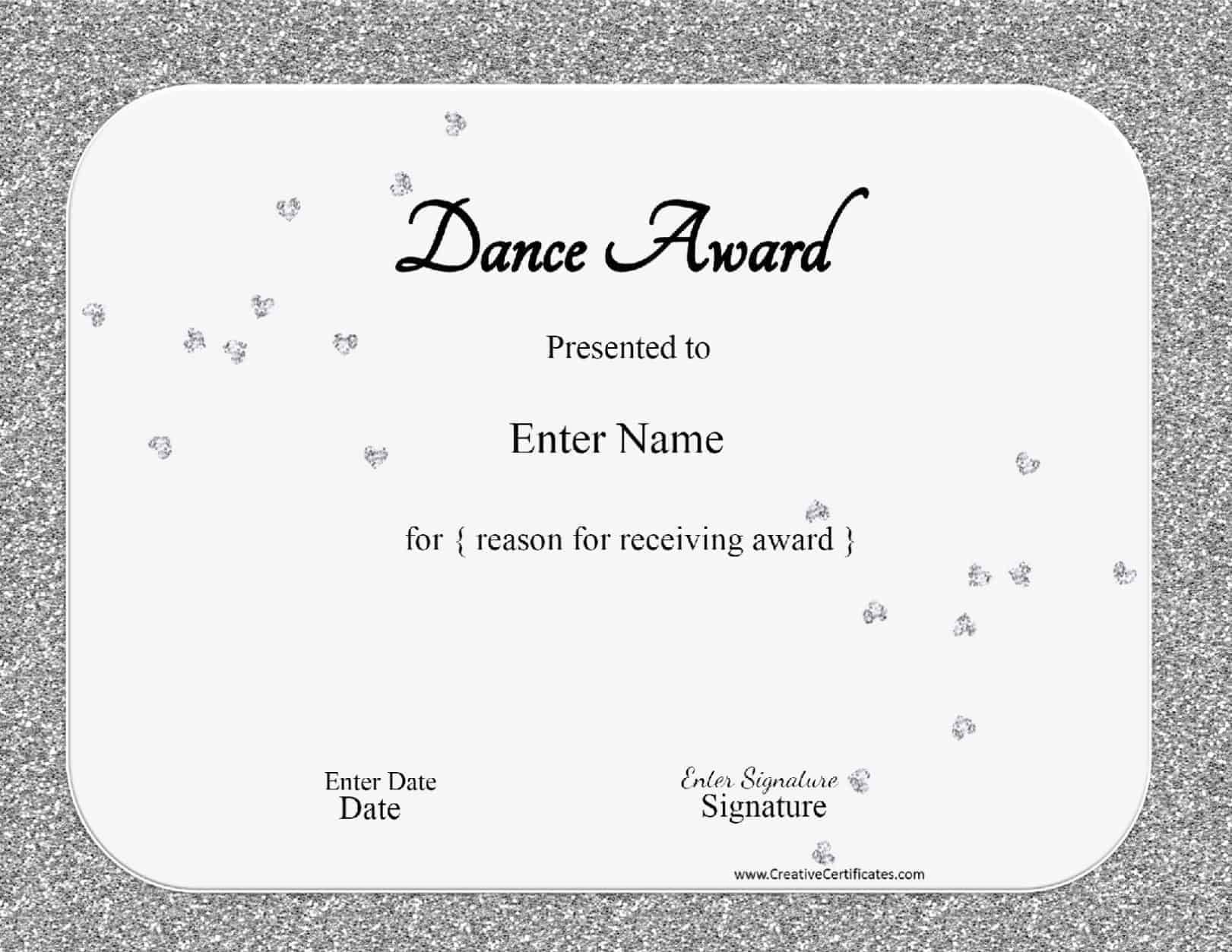 Certificate template dance image collections certificate design dance certificate template microsoft word shipping label template xflitez Image collections