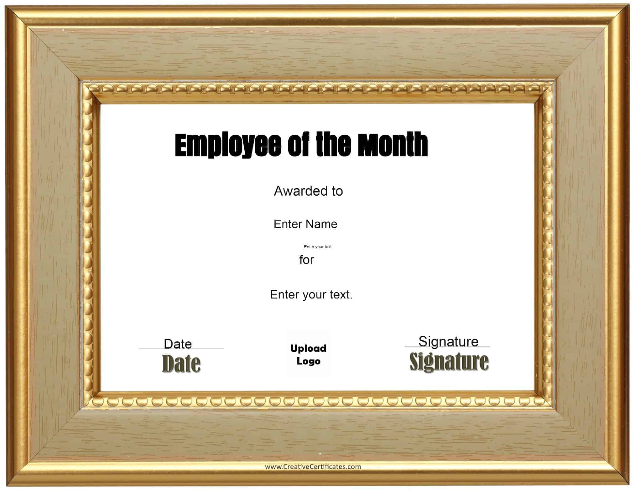employee of the month award certificate