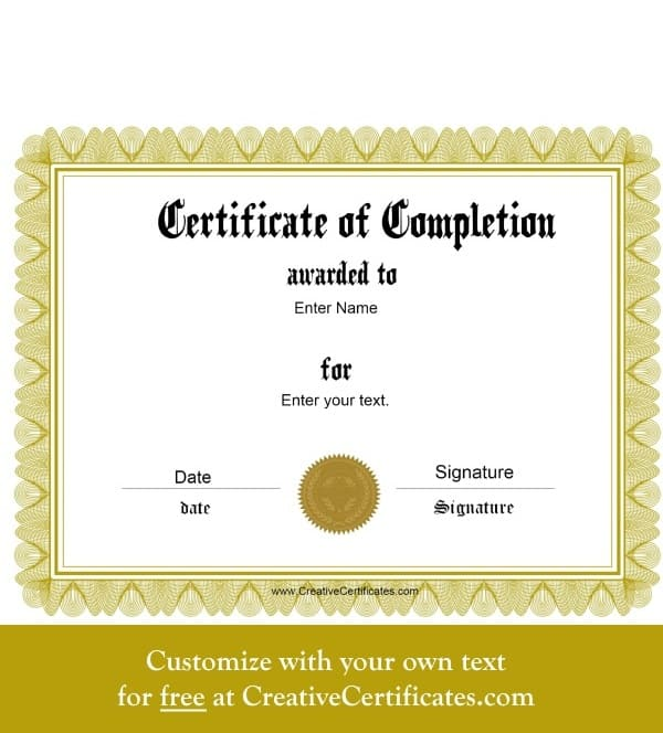 editable certificate of completion