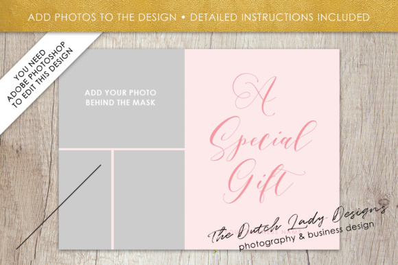 Photography Gift Certificate Template - Photo Gift Card - Layered