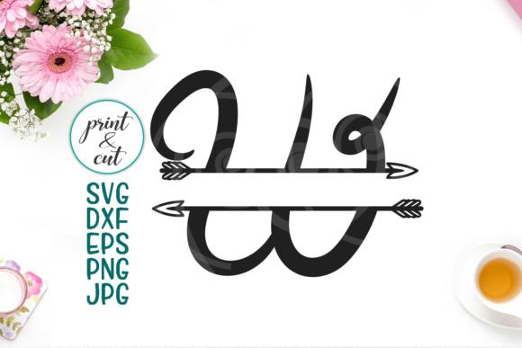 Letter W, split monogram font, font with arrow, individual letters