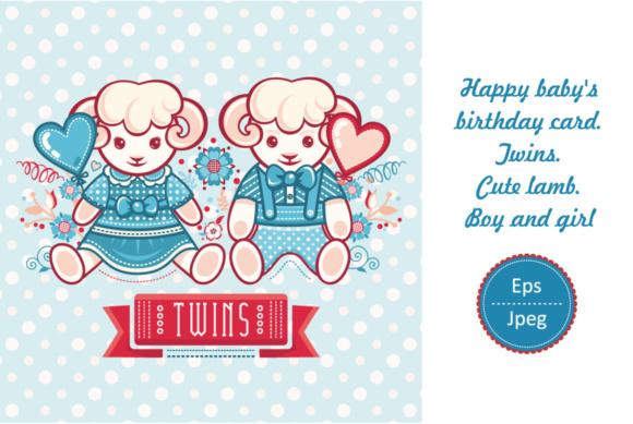 Twins Cute lamb Little sheep Greeting card Happy birthday card
