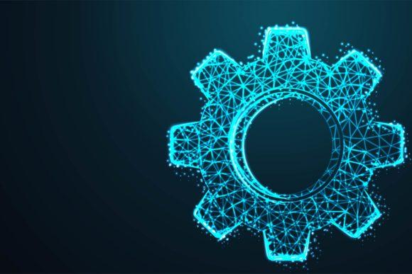 Vector Cogwheel Wire Frames Glowing in the Dark Background Graphic