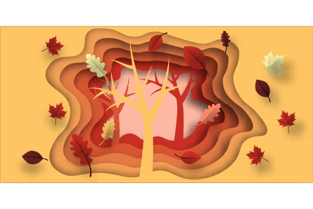 Autumn Paper Cut With Leaves And Tree Graphic By
