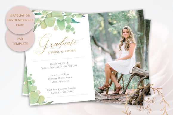 PSD Graduation Announcement Card Template Graphic by daphnepopuliers