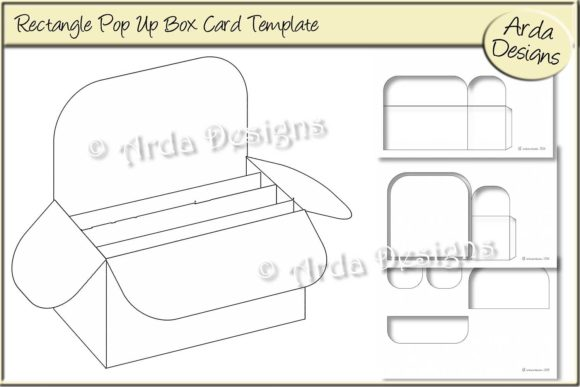 Rectangle Pop Up Box Card CU Template Graphic by Arda Designs