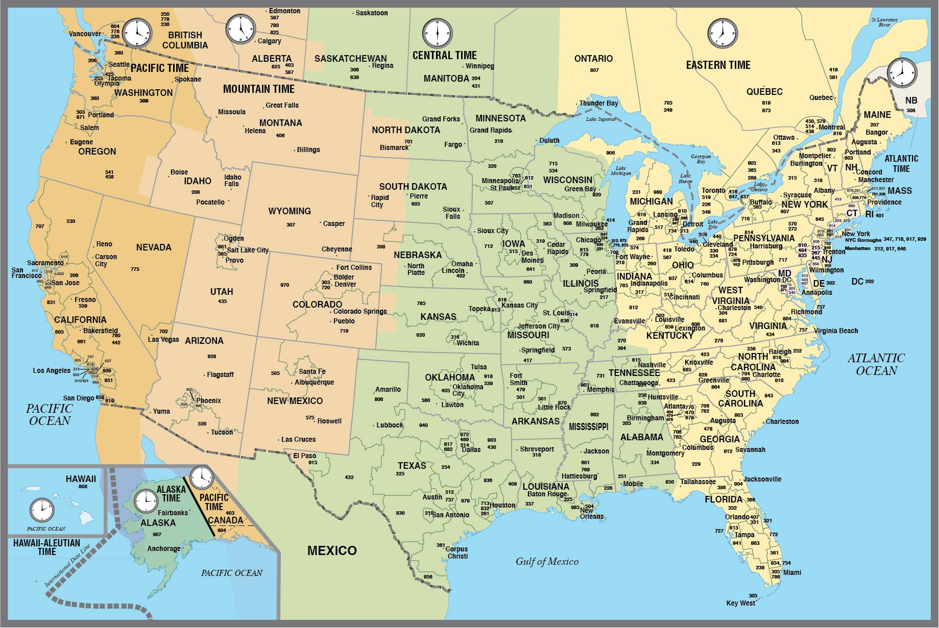 USA Canada Time Zone Map Timetimezones Arrogburo Map Of Time - Ohio state time zone