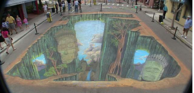 Combining 3D Chalk Art and Augmented Realty Guerrilla Marketing Photo