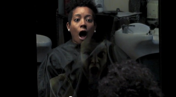 Creepy Ghost Girl Scares Hair Salon Customers In Movie Campaign Guerrilla Marketing Photo