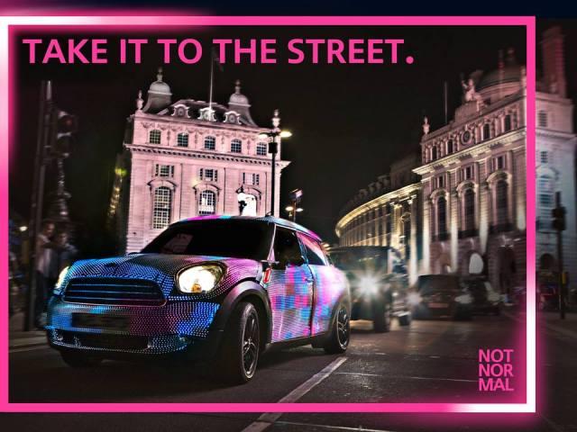 MINI Launches World's First Hi Res, Interactive LED Car #MINIartbeat Guerrilla Marketing Photo