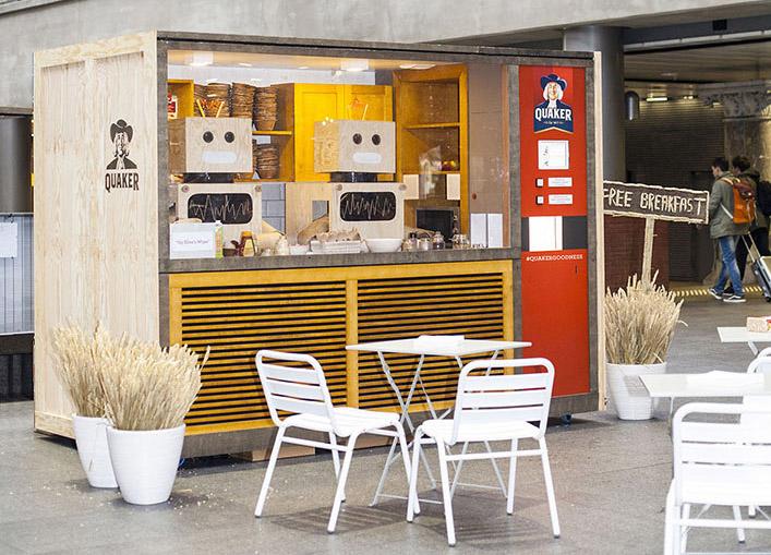 Quaker Creates Pop up Breakfast Bot Giving Away Free Breakfast Guerrilla Marketing Photo